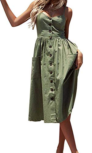 ECHOINE Women Solid Plain Army Green Summer Midi Dress with Pockets