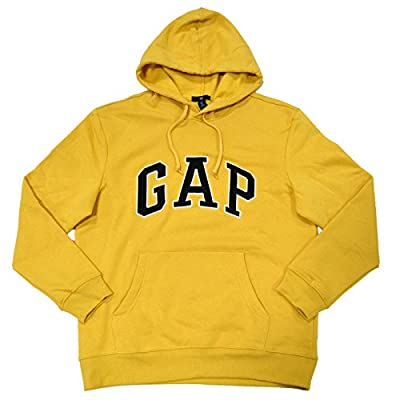 GAP Mens Fleece Arch Logo Pullover Hoodie (Faded Yellow, X-Large)
