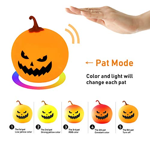 Halloween Lights Baby Night Lights for Kids Pumpkin Lamp Jack-O-Lantern Rechargeable Silicone Pat Light,Dimmable 7 Color Breathing Mode Nursery Lamp for Children Girl Boys Bedroom Decoration (C face)]()