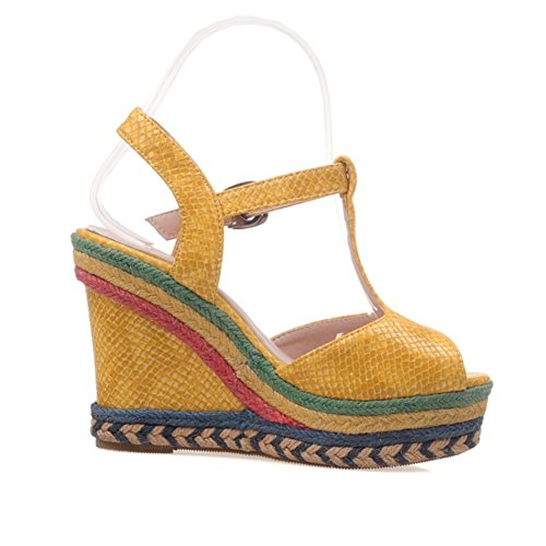 for Summer Strap Color Women's Heel Wedge Dress A Ankle PU Black Blue 43 Sandals Casual Toe Shoes Yellow Beige Spring Size Open Comfort YYtq7Hw