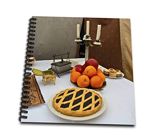 3dRose Alexis Photography - Still-Life - Fresh Pie, Apples, Pomegranate, Oranges and a Triple Candlestick - Drawing Book 8 x 8 inch - Triple Candlestick