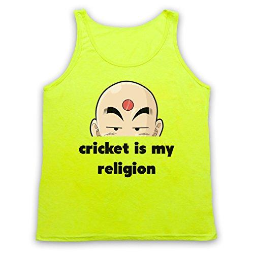 Cricket Is My Religion Cricket Slogan Tank-Top Weste, Neon Gelb, Small