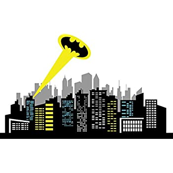 Chic Walls Removable Gotham City Skyline Buildings Ray Light Batman Logo  Wall Art Decor Decal Vinyl Part 48
