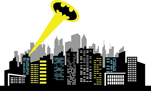 Chic Walls Removable Gotham City Skyline Buildings Ray Light Batman Logo Wall Art Decor Decal Vinyl Sticker Mural Nursery Kids Room Superhero 80'' X 48'' by ChicWalls