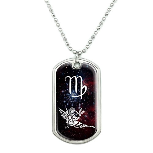 Virgo Maiden Zodiac Sign Horoscope in Space Military Dog Tag Pendant Necklace with (Virgo Sign Personality)