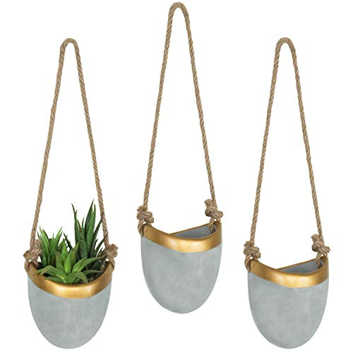 MyGift Modern Cement Grey & Gold-Tone Trim Hanging Wall Planters, Set of - Brass Planter Wall