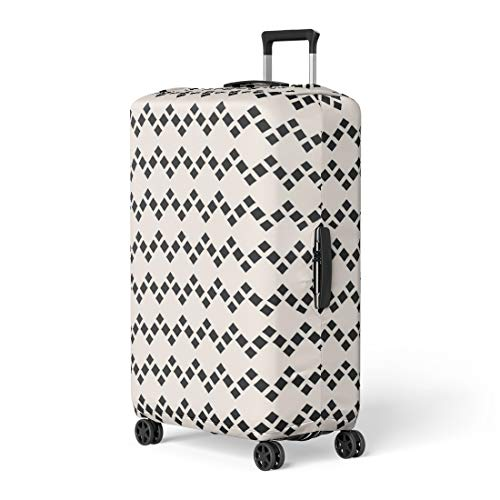 Pinbeam Luggage Cover Abstract Geometric Rhombuses Simple Argyle Pattern Modern Monochrome Travel Suitcase Cover Protector Baggage Case Fits 18-22 inches