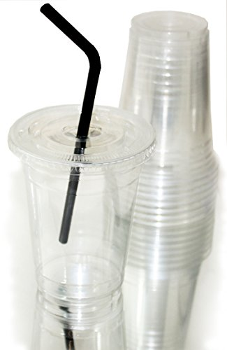 Clear Plastic Cups With Lids : Clear plastic disposable cups with flat lids included