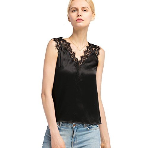 LilySilk Silk Camisole Tank for Women Lace Deep V-Neck Sexy Pure Natural Mulberry 16 MM Soft Basic Tops Black S/4-6