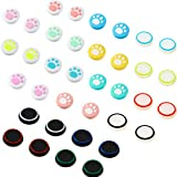 36 Pieces Cute Cat Paw Replacement Thumb Grips Caps Cover Silicone Luminous Analog Controller Joystick Thumb Stick Cap Compatible with PS4 PS3 PS2 Xbox 360 Xbox One Controllers