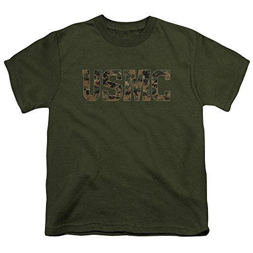 Trevco US Marine Corps USMC Camo Fill Unisex Youth T Shirt For Boys and Girls
