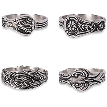 DII Vintage-inspired Napkin Rings for Wedding, Parties, Everyday Use, Set of 4, Vintage Silver Spoon