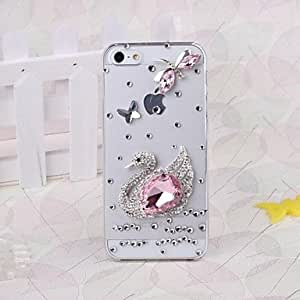 TOPQQ DIY 3D Swan and Dragonfly with Rhinestone Pattern Plastic Hard Case for iPhone 5/5S