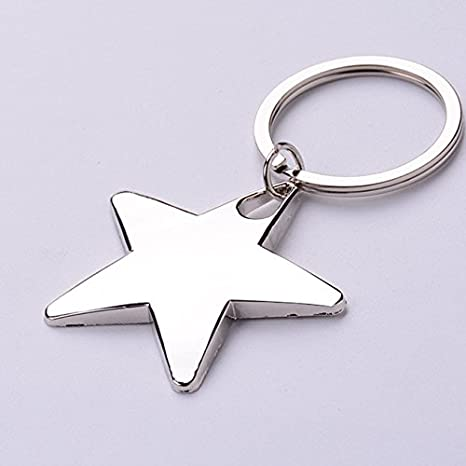 Amazon.com: Five Pointed Star Shaped Colgante Llavero Plata ...