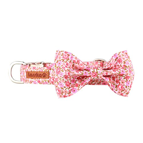 Losska Dog&Cat Collar with Bowtie-Soft Comfortable and Adjustable Collar (Floral, M)