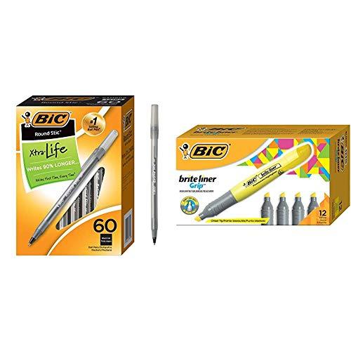 (BIC Round Stic Xtra Life Ballpoint Pen, Medium Point (1.0mm), Black, 60-Count &  Brite Liner Grip Highlighter, Tank, Chisel Tip, Yellow,)