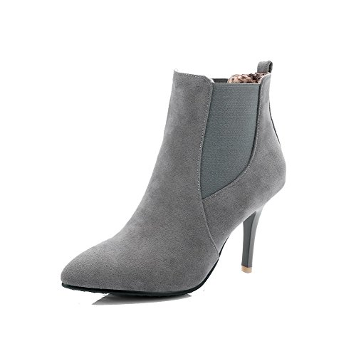 AllhqFashion Pull High Boots Womens On Heels high Gray Ankle Solid Frosted AFqPFnr0B