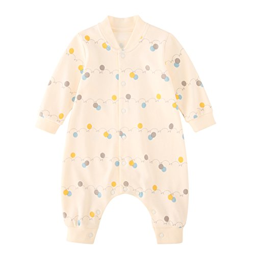 rall Romper Onesies Baby Cotton Long Sleeve Jumpsuits Bodysuits Sleepwear Outfits for Newborn Beige 3-6 Months ()