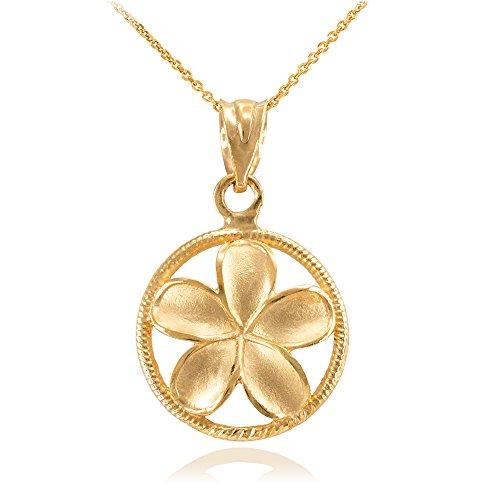 Collier Femme Pendentif 10 Ct Or Jaune Côtelé Cercle Hawaiienne Plumeria Fleur Charme (Livré avec une 45cm Chaîne)