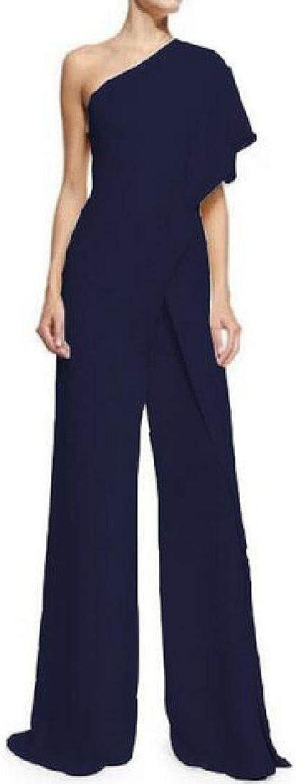 Rrive Womens Wide Leg Palazzo One-Shoulder Ruffle Casual Jumpsuit Romper