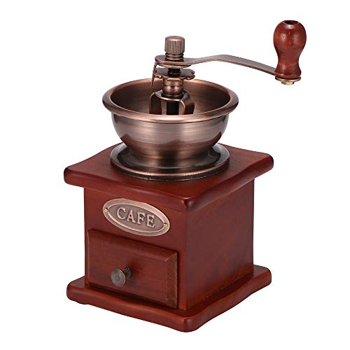 Manual Coffee Grinder, DDSKY Manual Coffee Bean Grinder Vintage Antique Wooden Hand Grinder Coffee Mill Coffee Grinder…