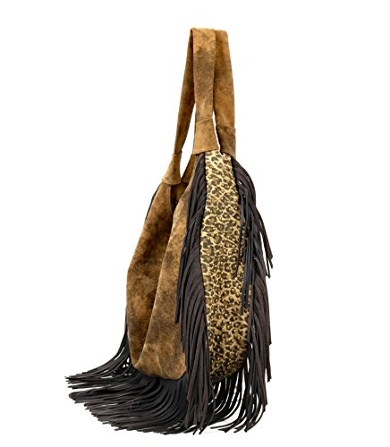 Juan Bag Antonio Leopard Fringe 344ST Adobe Hobo with Brown raw7Sqrx