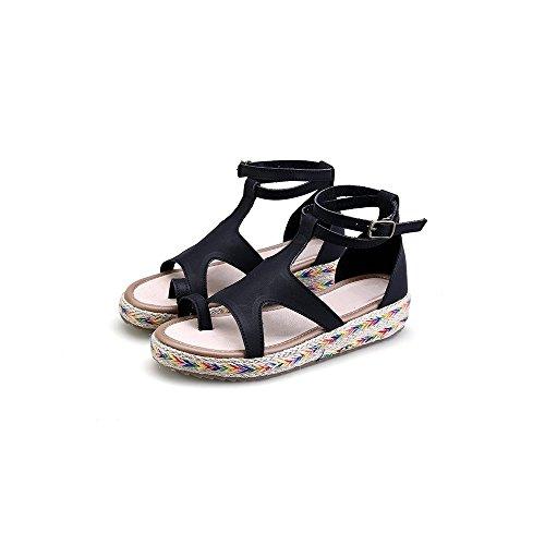 Nero Scarpe Moda Di Espadrillas Piattaforma Donna Aperto Caviglia Da Sandali FFaAz