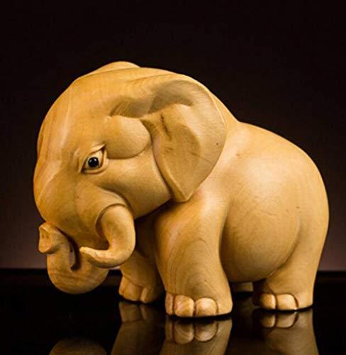 TUKURIO Mini Boxwood Animals Carving Handicrafts Rhino Elephant Hippopotamus Home Decorative Statue