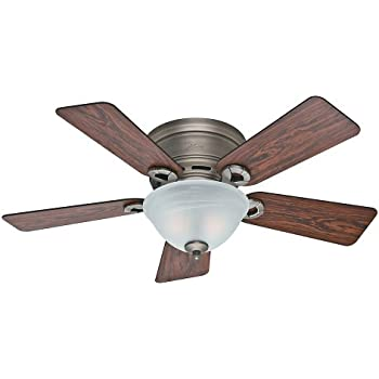 Hunter 51024 Conroy 42 Inch Antique Pewter Ceiling Fan With Five  Rosewood/Dark Maple Blades And A Light Kit
