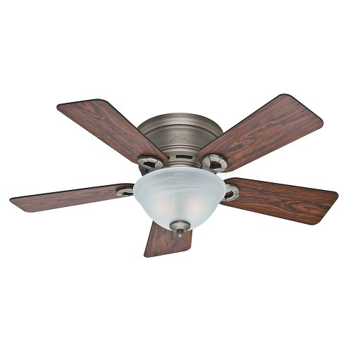 Hunter Indoor Low Profile Ceiling Fan with light and pull chain control – Conroy 42 inch, Antique Pewter, 51024