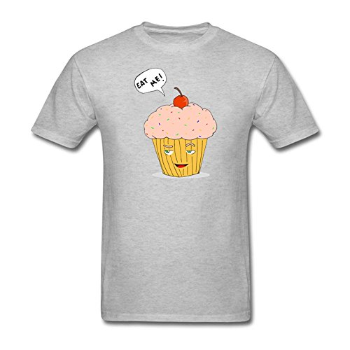 QLJYKJ Men's Eat Me Cupcake Ice Cream Round Collar Grey Tshirts L