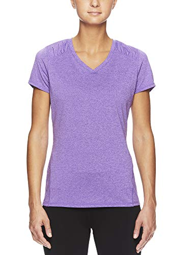 HEAD Women's Brianna Shirred Short Sleeve Workout T-Shirt - Marled Performance Crew Neck Activewear Top - Brianna Chive Blossom Heather, X-Small by HEAD (Image #1)
