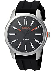 HUGO BOSS Mens DUBLIN Quartz Stainless Steel and Rubber Casual Watch, Color:Black (Model: 1550042)