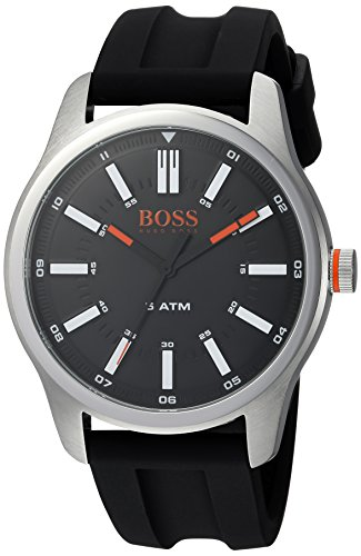 HUGO BOSS Men's 'DUBLIN' Quartz Stainless Steel and Rubber Casual Watch, Color:Black (Model: 1550042) Boss Orange White Rubber