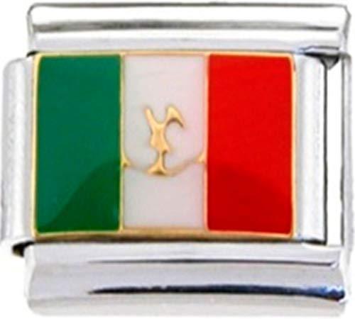 - Stylysh Charms Mexico Mexican Flag Enamel Italian 9mm Link PE049