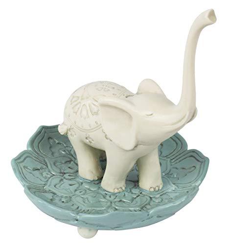 Grasslands Road 464005 Resin Good Luck Elephant Jewelry Ring Holder, White/Teal, Medium, 3.5
