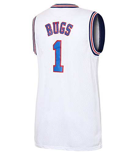 JOLI SPORT Bugs 1 Space Men's Movie Jersey Basketball Jersey S-XXXL White (L) ()