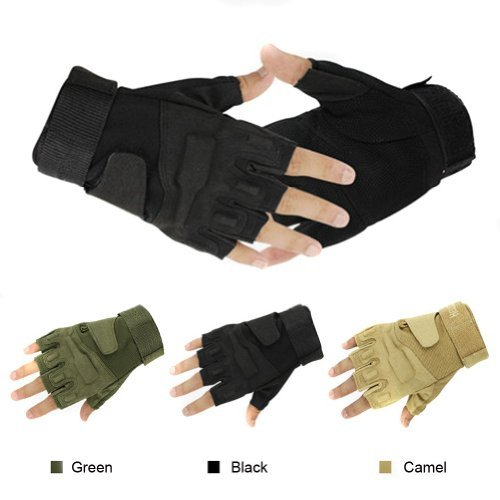 NSSTAR Military Half-finger Fingerless Tactical Airsoft Hunting Riding Cycling Gloves (Black, (Best Nsstar Motorcycle Helmets)