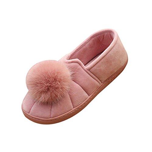 Elevin (tm) 2018 Winter Indoor Slippers Voor Dames Haarbal Anti-slip Zachte Zwangere Dames Snowboots Schoenen Roze