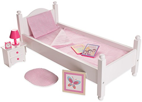 Clock Wood Striped (18 Inch Doll Furniture Bed Set w/Accessories - Playtime by Eimmie Collection)