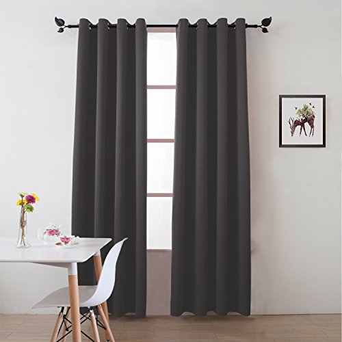"""Floweroom Blackout Curtains Solid Thermal Insulated Panel Energy Efficient Light/Room Darkening Window Treatment Draperies 2 Panels Set for Living room/Bedroom/Dining room 52""""x84"""" Grey"""