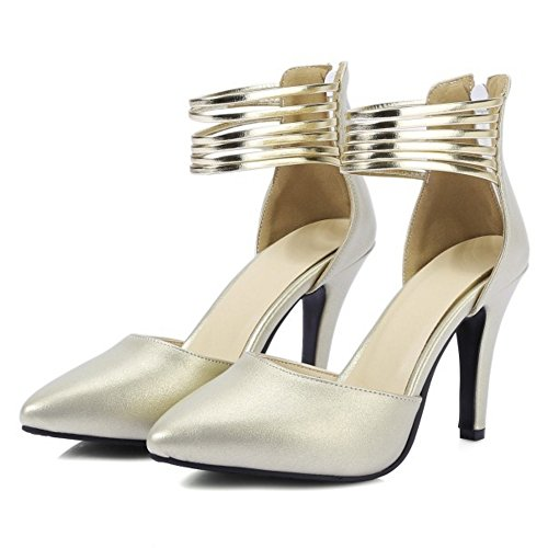 Women COOLCEPT Size Sandals Closed Strap Toe Gold Stiletto Zipper Fashion Ankle Shoes 6UFRwq1U