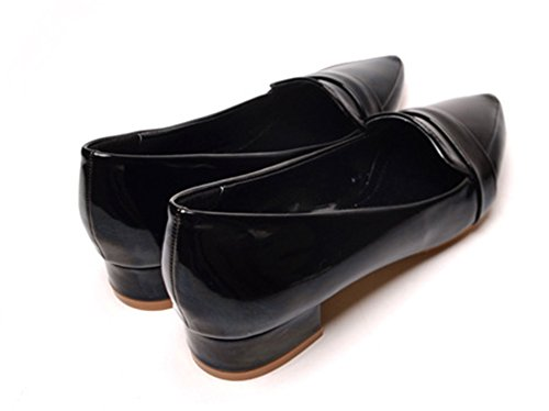 Aisun Womens Simple Comfy Patent Leather Slip On Pointy Toe Flat Loafers Shoes Black mPYp9nL2