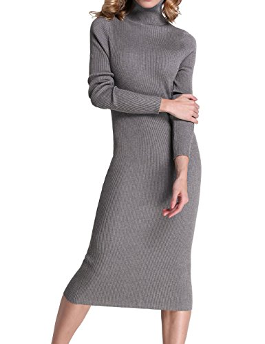 Rocorose Women's Turtleneck Ribbed Elbow Long Sleeve Knit Sweater Dress Light Grey L