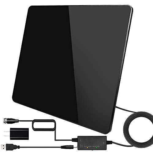 [Newest 2020] HDTV Antenna, Digital Indoor TV Antenna Version,150Miles Range with Amplifier Signal Booster for 4K TV Channels, Amplified 17ft Coax Cable/USB Adapter... (Black)