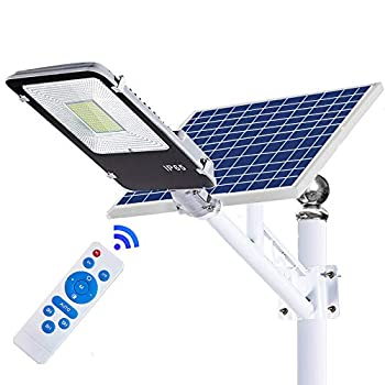 Image of ECO-WORTHY 100 W Solar Street Flood Lights Outdoor Lamp, White 6500K with Remote Control Dusk to Dawn Security Lighting for Yard, Garden, Gutter, Basketball Court, Arena, Lawn Home Improvements
