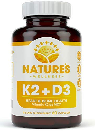 Vitamin K2 (mk7) with D3 Supplement for Best Absorption - 2-in-1 Support for Heart Health and Strong Bones | Vitamin D & K Complex | D3 5000 IU + K2 100 mcg | GMO & Gluten Free - 60 Count