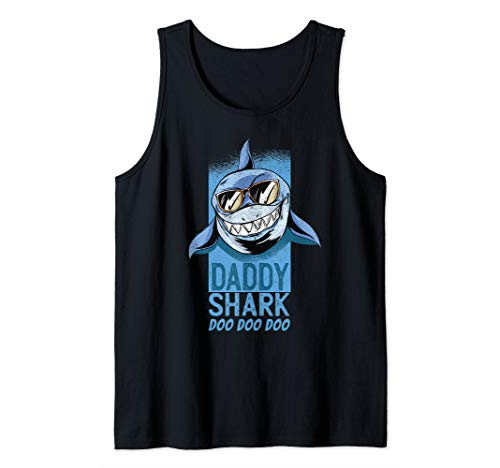 Mens Fathers Day Gift Idea Dad Present To Be Daddy Shark Do Doo Tank Top]()