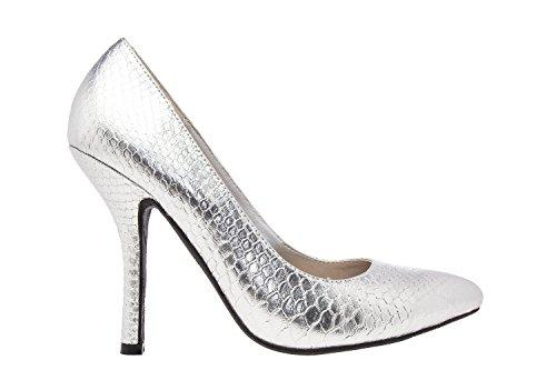 Andres Machado.AM591.Zapatos Salon.Mujer.Tallas Pequeñas y Grandes. 32/35- 42/45. Mujer. Serpiente Plata