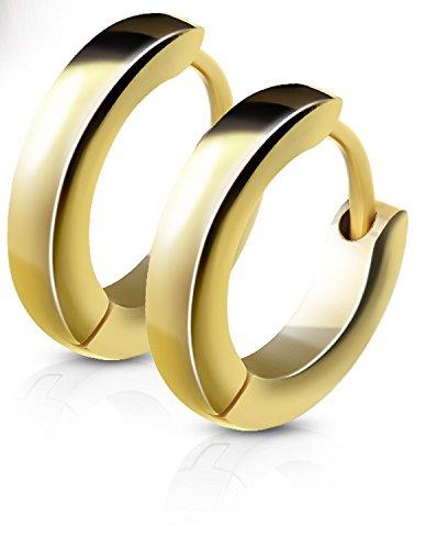14MM Hoop Earrings Surgical Stainless Steel Rhodium Plated Earrings For Men Women Huggie Hypoallergenic Hoop Earrings (Yellow Gold)
